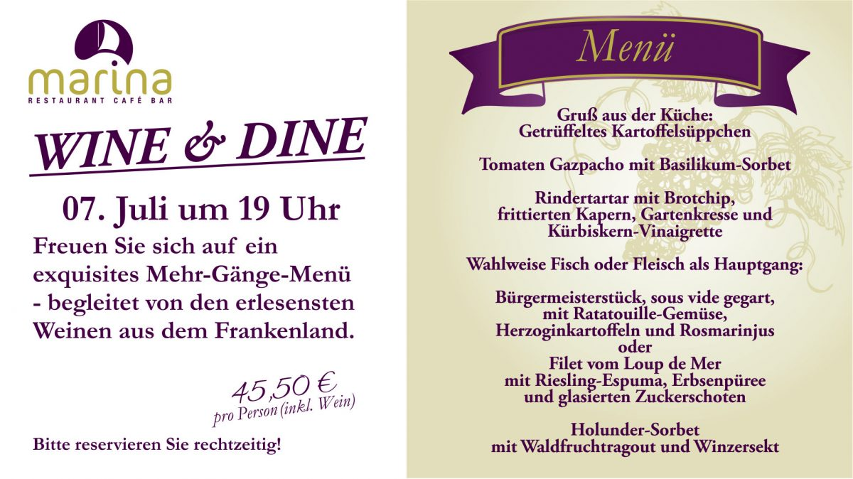 Wine & Dine am 7. Juli 2018