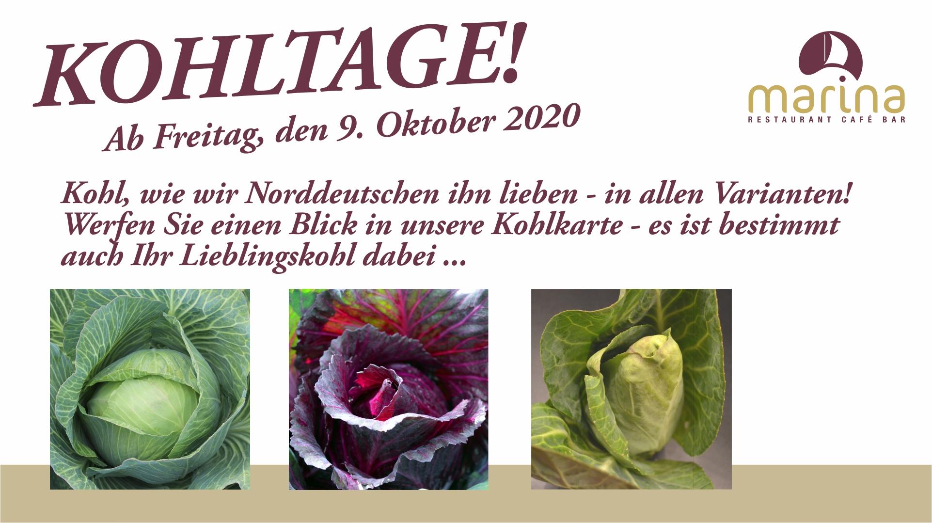 Am Freitag, den 9. Oktober 2020, starten wir die KOHLTAGE!