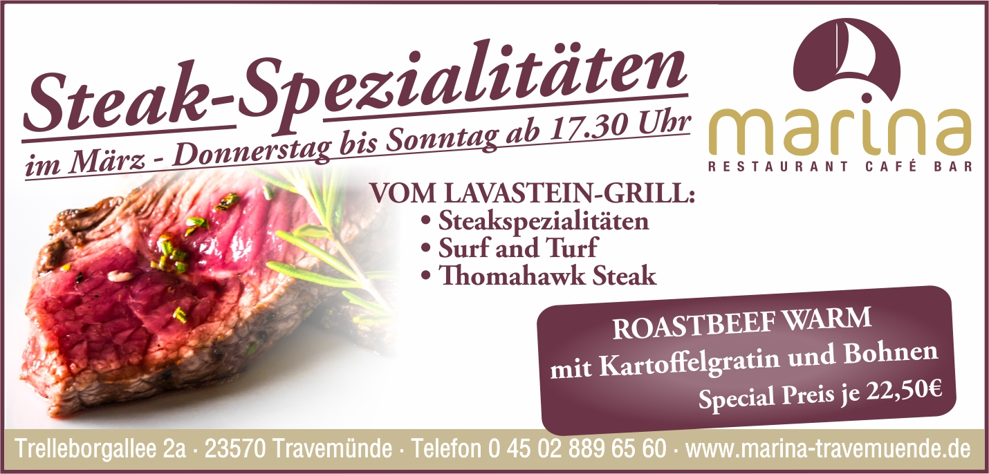 An 1. März gibt es STEAK´S & MORE!