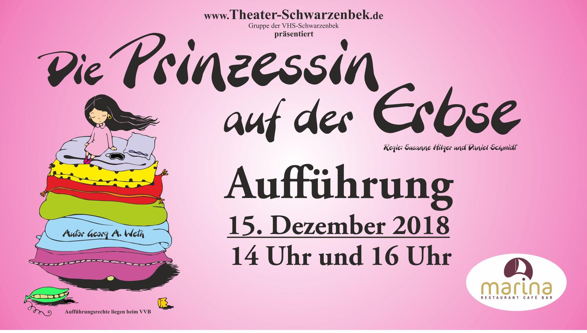 Unser Weihnachtsmärchen am 15. Dezember 2018: Die Prinzessin auf der Erbse!