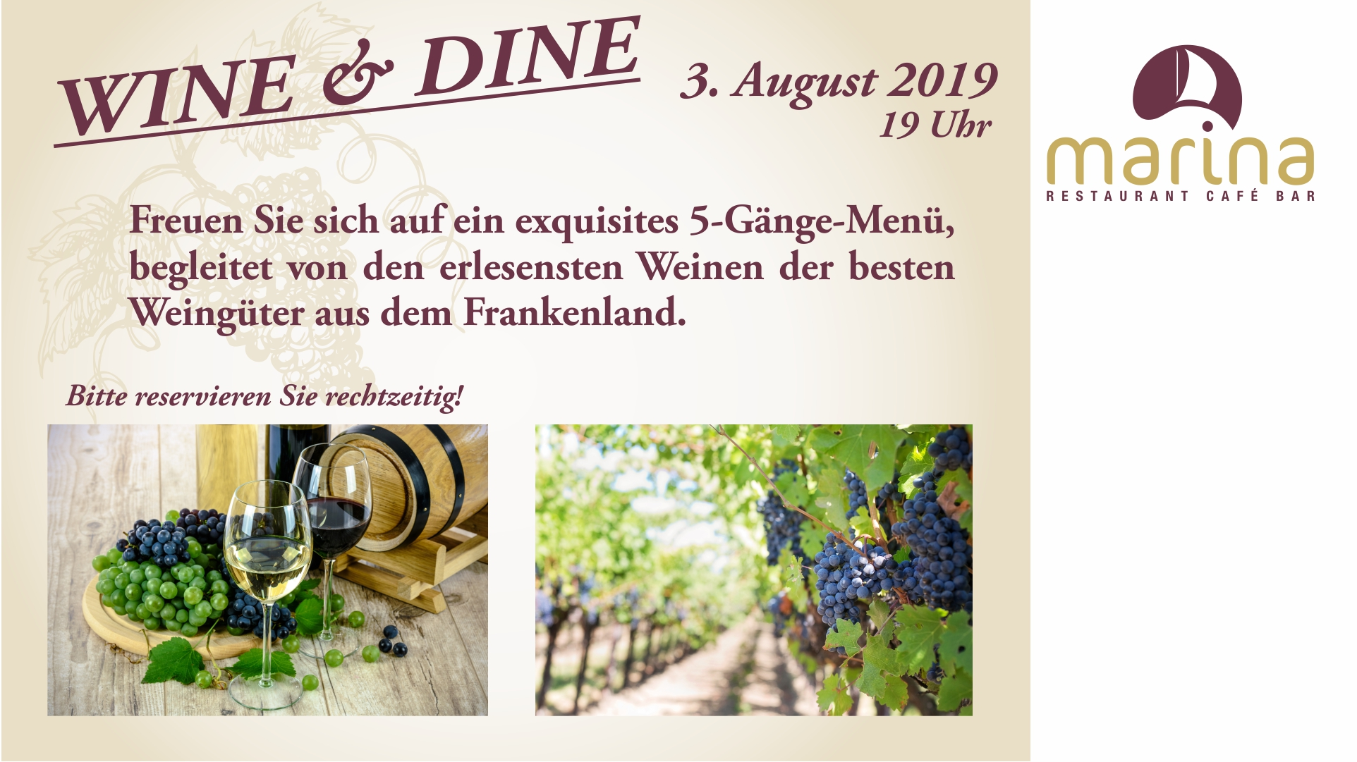 WINE & DINE am 3. August um 19 Uhr